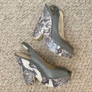Nine West Trippy Grey Wedges, 8.5